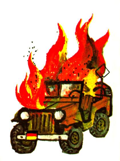 brennendes Bundeswehrfahrzeug